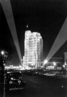 (1931)** - A closer view of the Pellissier Building and the Warner Brothers Western Theatre on opening night.NOW the Wiltern