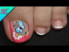 Pretty Toe Nails, Cute Toe Nails, Diy Nails, Feet Nail Design, New Nail Art Design, Nail Art Designs Videos, Diy Nail Designs, Pedicure Nail Art, Toe Nail Art