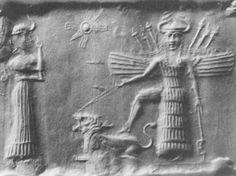 mesopotamian cylinder seal | Inanna,_Radiant_Inanna_impress_from_a_Mesopotamian_cylinder_seal