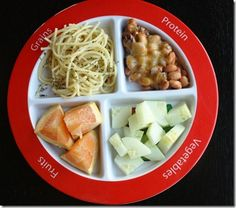 Vegetarian dinner on MyPlate  (Beans, whole grain pasta, cucumbers, and grapefruit).