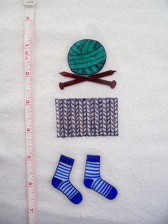 Knitting Shrinky Dinks - Before by nosmallfeet, via Flickr
