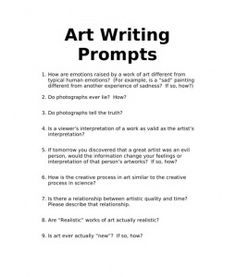 Great Art Writing/Discussion Prompts: