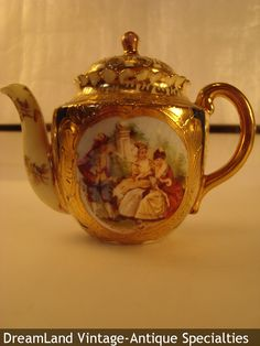"Austrian Royal Vienna-style ""portrait"" cobalt blue with gilt accents teapot  - MAKE $ OFFER DreamLandSpecialties@comcast.net"