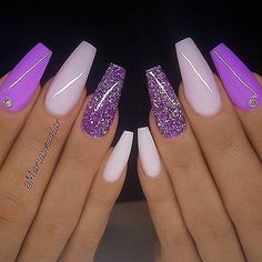 Stunning Nail Art Designs & Images for Ladies – Rosa Pink Nails Purple Acrylic Nails, Best Acrylic Nails, Purple And Pink Nails, Purple Glitter Nails, Acrylic Nails For Summer Glitter, Bright Gel Nails, Purple Stiletto Nails, Acrylic Nails Coffin Glitter, Purple Manicure
