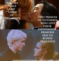 "I'll always be a fan of Dramione. Seriously, the whole ""inter-house unity"" bit throughout the books and umm... you don't get a major character pairing between Slytherin and Gryffindor?"
