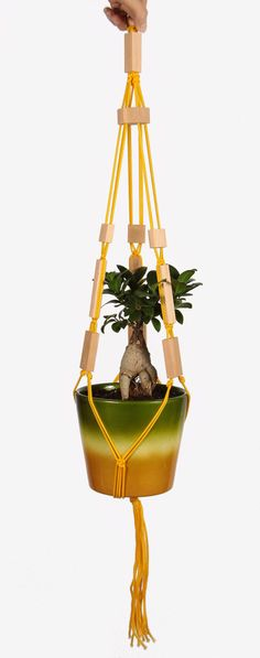 "Beaded Hanging Planter ~ Macrame Plant Hanger with Wooden Beads ~ Modern Pot Holder 32"" (80cm) ~ Hanging Plant Holder ~ Modern Basket #macrame #plant #planter #liveplants #decor #geometric"