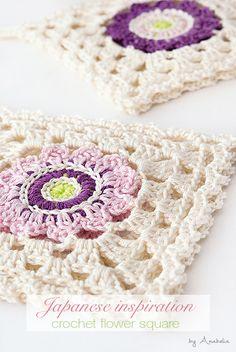 Japanese inspiration crochet square motif by Anabelia Craft Design