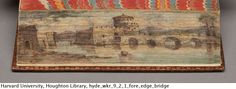 Epictetus, his morals, with Simplicius, his comment, 1704.     A double fore-edge painting, with the scene of Heliopolis visible when the book is fanned open in one direction, and the Bridge of the Euripus in the other. Houghton Library
