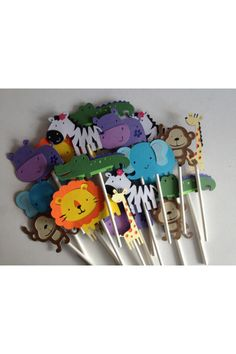 12 Lion Cupcake Toppers Jungle Safari First Birthday by MiaSophias