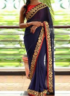 Navy Blue Embroidery Sequins Work Stone Work Georgette Casual Party Wear Sarees http://www.angelnx.com/bestseller