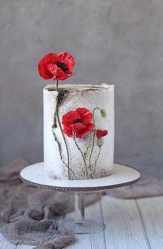 Poppy wafer paper flowers by Golumbevskaya Olesya Pretty Cakes, Beautiful Cakes, Amazing Cakes, Wafer Paper Flowers, Wafer Paper Cake, Cake Decorating Videos, Cake Decorating Techniques, Decorating Tips, Elegant Cakes