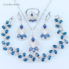 L&B Feather Square Blue Zircon White Crystal Wedding Jewelry Sets For Women Pendant/Necklace/Earrings/Ring //Price: $US $18.80 & FREE Shipping //     #hashtag4