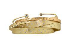 For Sales information please contact meara@julez.com Stacks on Stacks on Stacks 14k Yellow Gold Bangle Bracelets. #JulezBryant #MixandMatch
