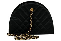 Chanel Black Silk Quilted Evening Bag