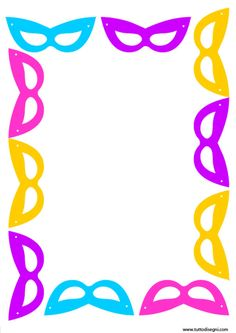 cornicetta-carnevale Borders And Frames, Good Mood, Candies, Kindergarten, Bee, Christmas Decorations, Costumes, Education, Floral