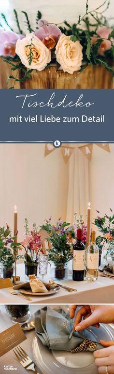 Liebevolle Details auf dem Hochzeitstisch schaffen eine wundervolle Atmosphäre. Von den passenden Weinetiketten, bis hin zu kleinen Zweigen und Blumen, die in Servietten gesteckt werden. Findet hier schöne Hochzeitsideen im Vintage Look.