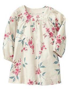 smocked long sleeved dress | Gap