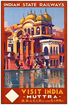 France - Visit India - Muttra - (artist: Broders, Roger c. - Vintage Advertisement Giclee Gallery Print, Wall Decor Travel Poster), Size: 36 x 54 Giclee Print, Multi Old Poster, Retro Poster, India Poster, Art Antique, Vintage India, Railway Posters, Visit India, Modern Photography, Vintage Travel Posters