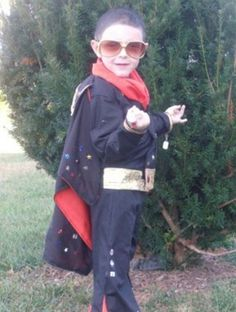 """Parenting.com mom Natalie from Kentucky shared this photo of her son trick-or-treating as Elvis: """"When handed candy he would say, 'Thank you, Thank you very much!'"""""""