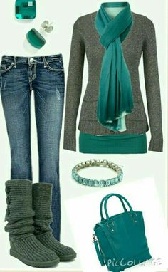 Teal and Grey outfit :) super cute for a casual look ; Winter Fashion Casual, Fall Winter Outfits, Autumn Fashion, Casual Winter, Winter Clothes, Winter Style, Women's Clothes, Cheap Clothes, Winter Dresses