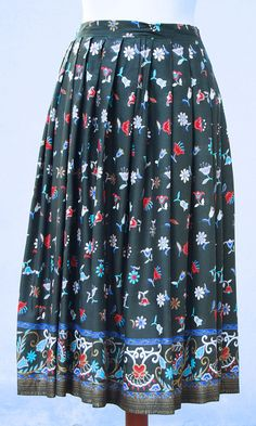 Vintage 70s indian floral and gold bohemian skirt by EVIGVINTAGE