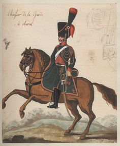 Chasseur de la Garde è cheval 1808 One of a collection of 98 unsigned original watercolors of uniform figures in outdoor backgrounds, possibly by Weiland; inlaid and bound in album. Figure with sword on brown horse facing left, unfinished pencil sketches in upper right corner.
