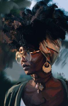 ArtStation - The Glance, Jose Gomez Black Love Art, Black Girl Art, Black Is Beautiful, Black Girl Magic, Art Girl, Black Art Painting, Black Artwork, Tableau Pop Art, African Art Paintings