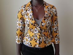 African Jacket was a locally sewn jacket made in Africa. This funky African Ankara print blazer is made from an African print fabric . African Attire, African Wear, African Theme, African Inspired Fashion, African Fashion, African Fabric, African Prints, Ankara Jackets, Afro Style