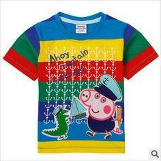 meninos set 2014 novo roupas de bebê crianças outono-verão t-shirts menino roupas de manga curta camisetas Peppa Pig camisas do bebê # C3962