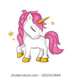 Little pink magical unicorn. Vector design on white background. Print for t-shirt. Romantic hand drawing illustration for children.