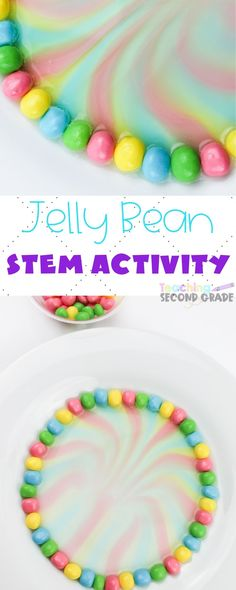 This Jelly Bean STEM Experiment is perfect for hands-on learning. A great way for kids to play with science and thrive in a hands-on learning environment. Stem Science, Preschool Science, Elementary Science, Teaching Science, Teaching Ideas, Easter Activities For Kids, Hands On Activities, Stem Activities, Letter Activities