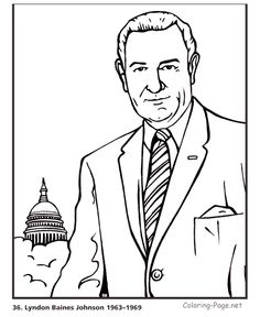 lyndon b johnson us president coloring pages