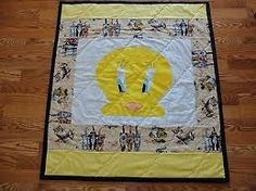 Could do tweety quilt something like this and just keep adding on side strips until happy with the size..
