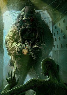 Featured geek artist: the dark & fun sci-fi / fantasy art of randis — geektyrant Arte Sci Fi, Sci Fi Art, Zombie Rpg, Art Apocalypse, Character Concept, Character Art, Zombies, Cyberpunk, Art Science Fiction
