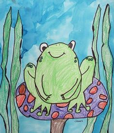 Frog, color then paint water blue