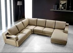 beige leather sectional - Google Search
