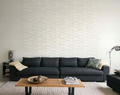 ECOCARAT - Decorative wall tile that removes humidity, formaldehyde and odors from your home. Outdoor Sofa, Outdoor Furniture, Outdoor Decor, Decorative Wall Tiles, Material, Living Room, Home Decor, Design Concepts, Raven
