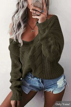 Army Green V-neck Long Sleeves Causal Loose Jumper - US$16.79 -YOINS