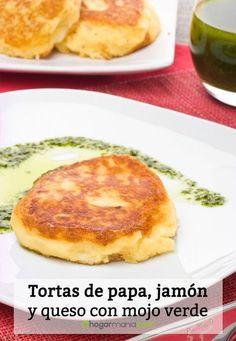 Receta de Tortas de papa, jamón y queso con mojo verde