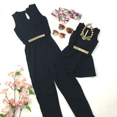 Mommy and me Black belted rompers