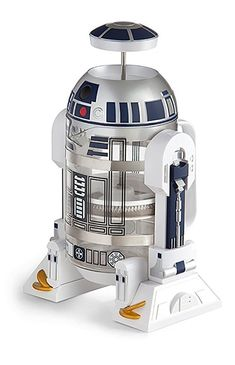 This officially licensed, Star Wars french press coffee maker from Think Geek features a glass carafe/stainless steel plunger and brews 4 cups. French Coffee, French Press Coffee Maker, Barista, R2d2, Gear Best, Amazon Coffee, Star Wars Merchandise, Great Gifts For Men, Star Wars Gifts