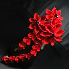 Red Romance. Silk Kanzashi on Hair Stick.