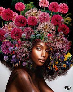 Artist turns afro hairstyles into flowery galaxies to remind Black women of their uniqueness.  #BlackMattersUS #BM #BlackKnowledge #black #blacklove #african #africanamerican #blacklivesmatter #BlackPower #ProBlack #BlackEmpowerment #BlackIsBeautiful #StayWoke
