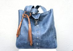 New Style///Bronte Tote in Denim Blue Leather with by arebycdesign, $262.00