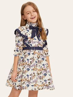 To find out about the Girls Ruffle Trim Striped Bow Front Floral Dress at SHEIN, part of our latest Girls Dresses ready to shop online today! Baby Girl Dress Patterns, Little Girl Dresses, Girls Dresses, Coat Dress, Dress Up, Dress Girl, Dress Clothes, Dressy Dresses, Nice Dresses