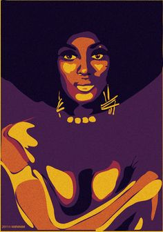 Black art Afro purple and gold Black Girl Art, Black Women Art, Illustrations, Illustration Art, Art Beauté, Pop Art, Frida Art, Natural Hair Art, African American Artist