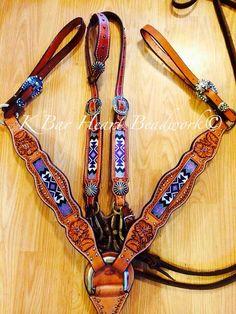 K bar heart beadwork. Custom made beaded headstalls, beaded tack, beaded headstalls, beaded hatbands, beaded spur straps, beaded bronc halter, beaded belts Custom cowboy beadwork.-- Awesome work!!