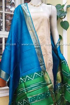 Designer Tussar Silk Dupatta with Woven border