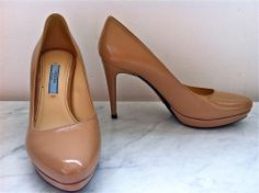 Prada Flesh Leather Heels Size 35.5 via The Queen Bee. Click on the image to see more!