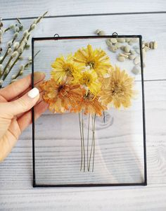 Mother's day gift Pressed flowers wall art yellow flowers on the grass in frame – art on wall in the nursery on stand or on rope or chain - DIY Blumen Picture Frame Decor, Flower Picture Frames, Pressed Flower Art, Acrylic Wall Art, Photo On Wood, Photo Wall, Floral Wall Art, Flower Frame, Yellow Flowers